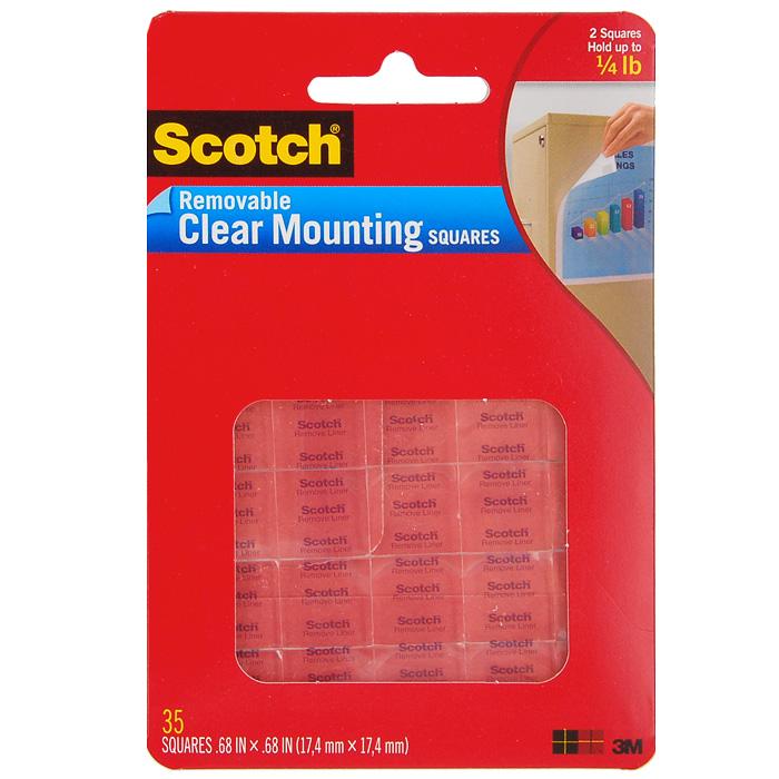 """Монтажные прозрачные квадраты """"Scotch"""" - отличная альтернатива гвоздям и могут быть использованы для большинства поверхностей. Применяются для крепления плакатов и легко удаляются без следов. Идеально подходят для крепления предметов и декорирования помещений."""