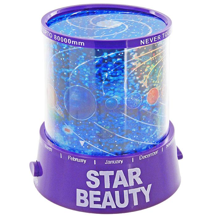 Ночник-проектор Планетарий, цвет: фиолетовыйA1082AL-1BGНочник-проектор Планетарий - это удивительный прибор для создания ясного ночного неба прямо у вас в комнате. Ночник проецирует созвездия на стены и потолок помещения. Ночник оснащен светодиодами, которые постепенно меняют цвета своего свечения. Включив проектор, вы увидите, как на стенах и потолке вашей комнаты отражаются тысячи звезд, свечение которых постепенно изменяется! Максимальный эффект от ночника достигается в условиях полного затемнения.Источник света: - Лампочка (от карманного фонарика)- Три многоцветных светодиода. Источники света включаются отдельными кнопками (можно использовать как вместе, так и по отдельности). Характеристики:Цвет: фиолетовый. Материал: пластик. Размер ночника: 10,5 см х 11,5 см х 10,5 см. Размер упаковки: 11 см х 13 см х 11 см. Производитель: Китай. Артикул: 93330. Работает от 3 батареек АА 1.5V (не входят в комплект). Имеется вход для внешнего источника питания 4,5В (блок питания в комплекте не поставляется).УВАЖАЕМЫЕ КЛИЕНТЫ!Обращаем ваше внимание на возможные изменения в дизайне товара - корпус светильника-ночника может быть как с надписями на английскомязыке, так и с надписями на русском языке. Качественные характеристики товара и его размеры остаются неизменными. Поставка осуществляется в зависимости от наличия на складе.
