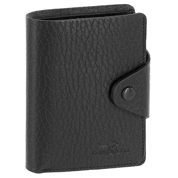 Визитница Cangurione, цвет: черный. 3303-001 F/BlackA52_108Компактная визитница Cangurione - стильная вещь для хранения визиток. Визитница выполнена из натуральной кожи черного цвета с естественной лицевой поверхностью. Внутри находится отделение для купюр, блок из прозрачного пластика, рассчитанный на 18 визиток и 4 прорезных кармашка из кожи. Визитница закрывается клапаном на кнопку.Такая визитница станет замечательным подарком человеку, ценящему качественные и практичные вещи.Визитница упакована в коробку из плотного картона с логотипом фирмы. Характеристики:Материал:натуральная кожа, металл, ПВХ. Размер визитницы:7,5 см x 10,5 см х 2 см. Цвет:черный. Размер упаковки:12 см x 10 см x 2,5 см. Производитель:Италия. Артикул:3303-001 F/Black.