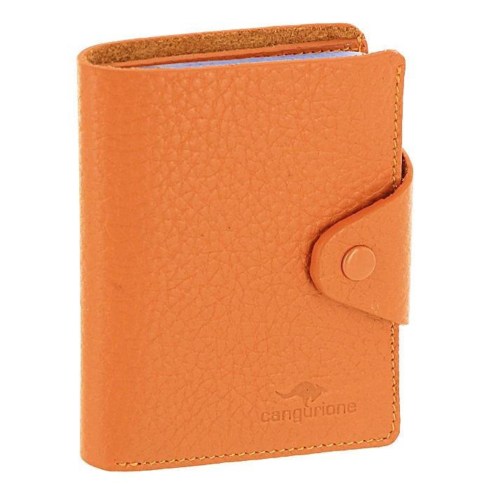 Визитница Cangurione, цвет: оранжевый. 3303-025 F/Orange392394Компактная визитница Cangurione - стильная вещь для хранения визиток. Визитница выполнена из натуральной кожи оранжевого цвета с естественной лицевой поверхностью. Внутри находится отделение для купюр, блок из прозрачного пластика, рассчитанный на 18 визиток и 4 прорезных кармашка из кожи. Визитница закрывается клапаном на кнопку.Такая визитница станет замечательным подарком человеку, ценящему качественные и практичные вещи.Визитница упакована в коробку из плотного картона с логотипом фирмы. Характеристики:Материал:натуральная кожа, металл, ПВХ. Размер визитницы:7,5 см x 10,5 см х 2 см. Цвет:оранжевый. Размер упаковки:12 см x 10 см x 2,5 см. Производитель:Италия. Артикул:3303-025 F/Orange.