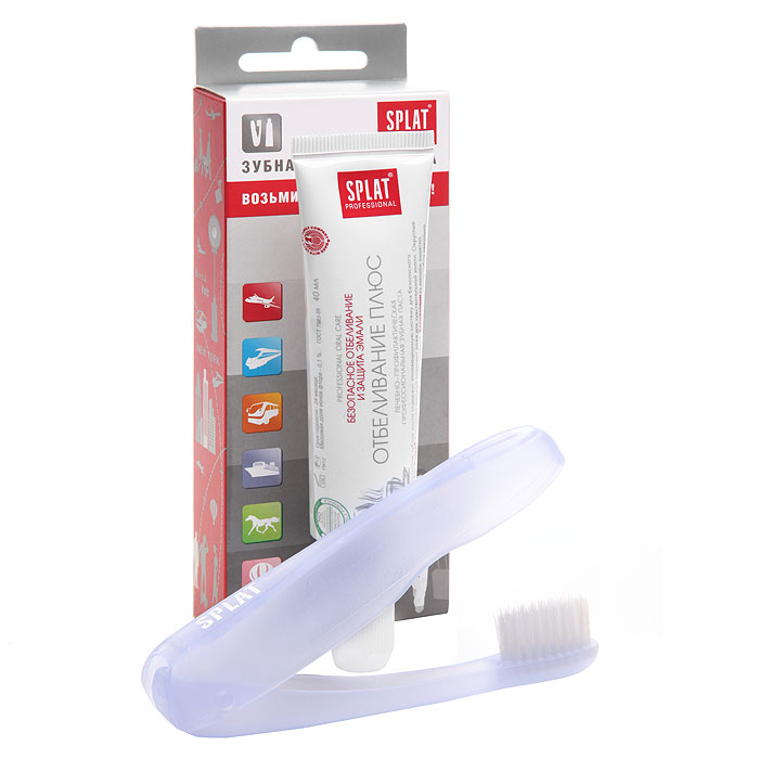 Дорожный набор Splat Отбеливание плюс: зубная паста, щетка