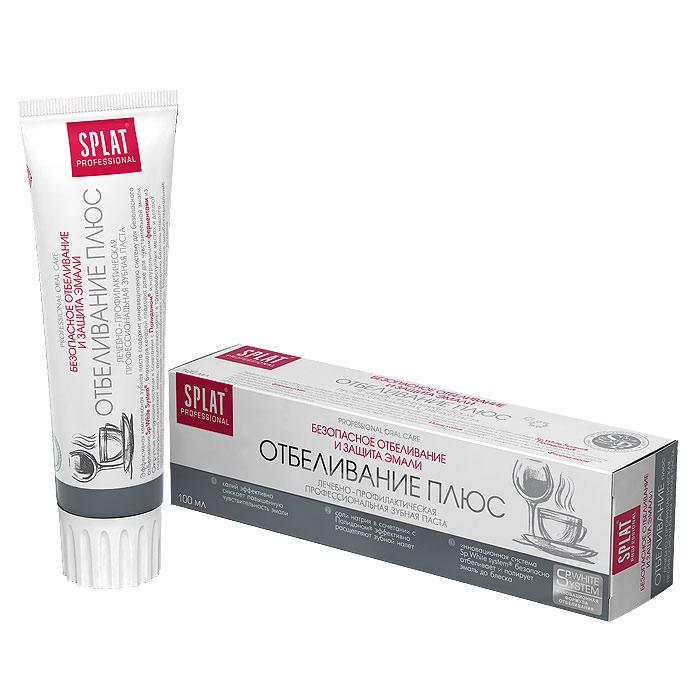 Зубная паста Splat Professional White Plus/Отбеливание плюс, 100 млSatin Hair 7 BR730MNЭффективная комплексная зубная паста содержит инновационную систему для безопасного отбеливания Sp.White system, благодаря которой зубы становятся светлее на 1,5 тона за 4 недели использования. Ионы калия заботятся о зубах в случае их повышенной чувствительности. Идеально подходит любителям кофе, чая и тем, кто курит. Не повышает чувствительность зубов. Округлые полирующие частицы в сочетании с компонентом Polydon и натуральными ферментами из папайи заметно осветляют эмаль, расщепляют налет в труднодоступных местах и делают поверхность зубов идеально гладкой, что способствует сохранению белизны надолго. Ионы калия снижают повышенную чувствительность зубов.Натуральные антибактериальные компоненты препятствуют образованию налета и заботятся о свежести дыхания. Фторид-ионы эффективно защищают от кариеса. Содержит фтор (1000 ppm). Активные компоненты: Polydon, папаин, соли калия, монофторфосфат натрия.Клинически доказано:Отбеливающий эффект - 1,5 тона за четыре недели по шкале Vitapan. Очищающий эффект - 50%. Реминерализующий эффект - 40%. Кровоостанавливающий эффект - 50,2%.Эффект:Инновационная система Sp.White system безопасно отбеливает и полирует эмаль до блеска. Фосфат-ионы в сочетании с компонентом Polydon эффективно расщепляют зубной налет. Ионы калия эффективно снижают повышенную чувствительность зубов. Характеристики:Объем пасты: 100 мл. Размер упаковки: 18 см х 5 см х 4 см. Производитель: Россия. Товар сертифицирован.
