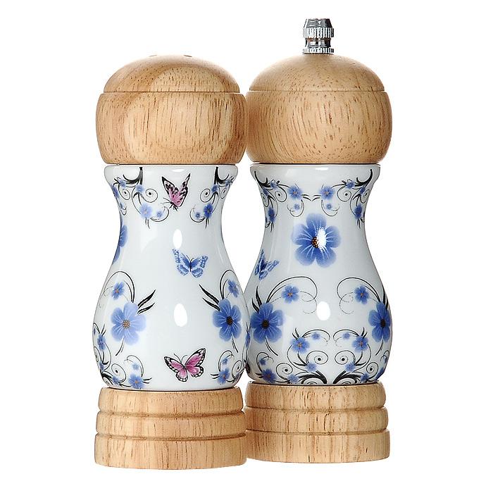 Набор для специй Borner 91107958.60.10Набор для специй Borner состоит из перцемолки и солонки, выполненных в оригинальном дизайне. Они изготовлены из керамики белого цвета, оформленного красочным цветочным рисунком, а крышки и основание выполнены из светлого дерева. С помощью такого набора вы с легкостью сможете добавить специи по своему вкусу в любое блюдо. Солонка и перцемолка просты в использовании. Для того чтобы привести перцемолку в действие достаточно покрутить верхнюю часть, а солонку перевернуть. Жернова в основании перцемолки изготовлены из высококачественной керамики. Набор для специй Borner займет достойное место на вашей кухне, а также может стать отличным подарком для практичной и современной хозяйки. Характеристики:Материал: керамика, дерево, металл. Высота солонки:13,5 см. Высота перцемолки:15 см. Размер упаковки:10,5 см х 5,2 см х 15 см. Производитель:Германия. Артикул:911079.