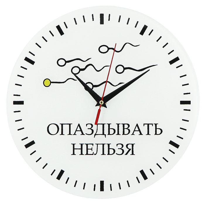 Часы настенные Опаздывать нельзя94672Настенные кварцевые часы Опаздывать нельзя своим необычным дизайном подчеркнут стильность и оригинальность интерьера вашего дома. Циферблат часов выполнен из стекла и оформлен ярким рисунком. Часы имеют три стрелки - часовую, минутную и секундную. На задней стенке часов расположена металлическая петелька для подвешивания.Такие часы послужат отличным подарком для ценителя ярких и необычных вещей. Характеристики:Материал: стекло, металл. Диаметр часов:28 см. Размер упаковки:30 см х 29 см х 5 см. Изготовитель:Россия. Артикул:93277. Рекомендуется докупить батарейку типа АА (не входит в комплект).