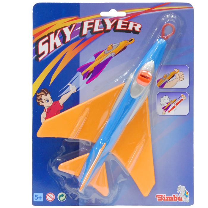 """Летающий самолет """"Simba"""" непременно понравится вашему ребенку. Самолет выполнен из безопасного материала. Следует натянуть шнурок и резко отпустить его и самолет полетит вперед."""