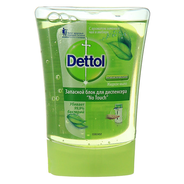 Запасной блок жидкого мыла Dettol, с ароматом зеленого чая и имбиря, 250 млSatin Hair 7 BR730MNЗапасной блок жидкого мыла Dettol подходит для диспенсера с сенсорной системой No Touch. Диспенсер удобен в использовании, мыло дозируется автоматически, необходимо просто намочить руки и поднести их к сенсору диспенсера. Антибактериальное жидкое мыло для рук Dettol с ароматом зеленого чая и имбиря содержит увлажняющие компоненты, которые заботятся о ваших руках, и одновременно убивают 99,9% бактерий. Характеристики:Объем: 250 мл. Производитель: Франция. Артикул:0362164. Товар сертифицирован.