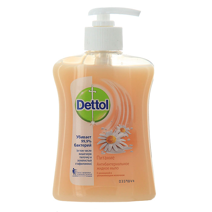 Жидкое мыло Dettol Питание, с ромашкой и увлажняющим молочком, 250 млMP59.4DАнтибактериальное жидкое мыло для рук Dettol Питание с ромашкой и увлажняющим молочком содержит увлажняющие компоненты, которые заботятся о ваших руках, и одновременно убивают 99,9% бактерий. Мыло обладает антибактериальной активностью в отношении грамположительных и грамотрицательных бактерий, pH средства 5,5. Характеристики:Объем: 250 мл. Производитель: Франция. Артикул:0359837. Товар сертифицирован.