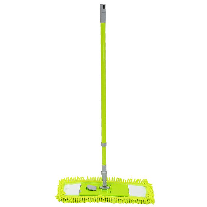 Швабра плоская Aqualine Coconet с телескопической ручкой9333Швабра Aqualine Coconet предназначена для сухой и влажной уборки в доме. Плоская насадка выполнена из синельного микроволокна, которое впитывает в себя воду и грязь подобно губке. Такая насадка позволит вам использовать во время уборки меньшее количество чистящих средств. Она подходит для всех видов гладких полов из плитки, паркета, ламината и камня. Ее можно стирать при температуре не выше 60°С. Швабра оснащена удобной стальной телескопической ручкой с подвижной частью, которая позволяет использовать ее в труднодоступных местах. На конце ручки имеется специальная петля, благодаря которой швабру можно подвесить в любом удобном месте. Характеристики:Материал:синельное волокно, полипропилен, нержавеющая сталь. Длина ручки:68 - 122 см. Размер насадки:45,5 см х 14,5 см. Производитель: Германия. Артикул:9333.