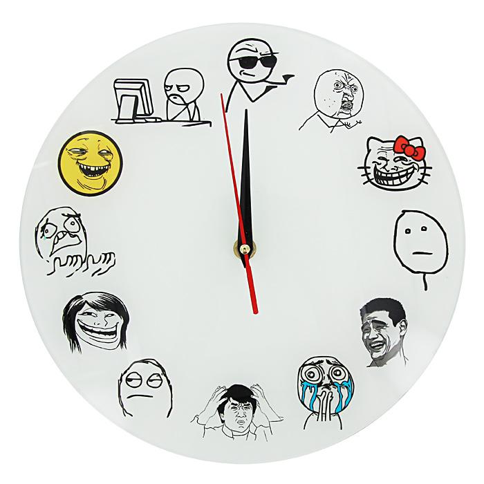 Часы настенные Тролль фейс94672Настенные кварцевые часы Тролль фейс своим необычным дизайном подчеркнут стильность и оригинальность интерьера вашего дома. Циферблат часов выполнен из стекла и оформлен забавными картинками. Часы имеют три стрелки - часовую, минутную и секундную. На задней стенке часов расположена металлическая петелька для подвешивания.Такие часы послужат отличным подарком для ценителя ярких и необычных вещей. Характеристики:Материал: стекло, металл. Диаметр часов:28 см. Размер упаковки:30 см х 29 см х 5 см. Изготовитель:Россия. Артикул:93383. Рекомендуется докупить батарейку типа АА (не входит в комплект).