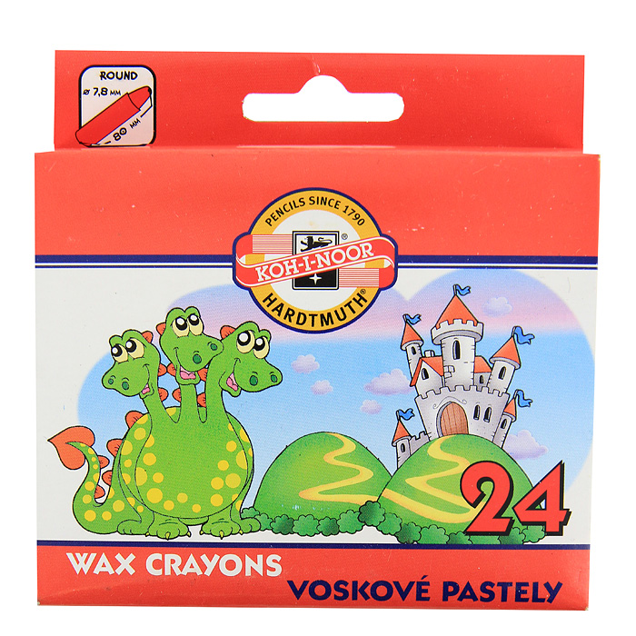 Мелки восковые Koh-i-Noor, 24 цвета0703415Восковые мелки Koh-i-Noor позволяют создавать картины в интересной выразительной технике. Мелки легко наносятся, дают мягкую линию, сочный цвет и хорошо смешиваются между собой. Круглая форма мелков очень удобна для маленьких ручек малыша. Комплект включает 24 мелка ярких цветов. Характеристики:Диаметр мелка: 0,8 см. Длина мелка: 8 см. Размер упаковки: 10,5 см х 10 см х 2 см.