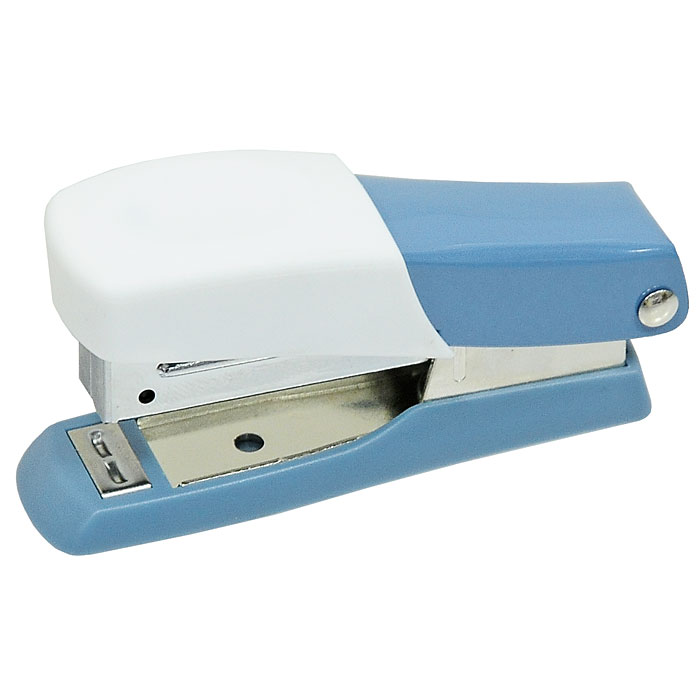 Мини-степлер Fusion, для скоб № 10, цвет: серо-голубой, белыйFS-36052Степлер можно найти практически в каждом офисе и доме. Мини-степлер Fusion с вертикальной загрузкой скоб прошивает до 10 листов бумаги. Эргономичный корпус выполнен из пластика с резиновой накладкой для удобного применения. Мини-степлер Fusion вмещает до 50 скоб размером №10.Характеристики: Размер степлера: 8 см х 2,5 см х 4 см. Материал:пластик, металл, резина. Размер упаковки: 8 см х 3,5 см х 4 см.