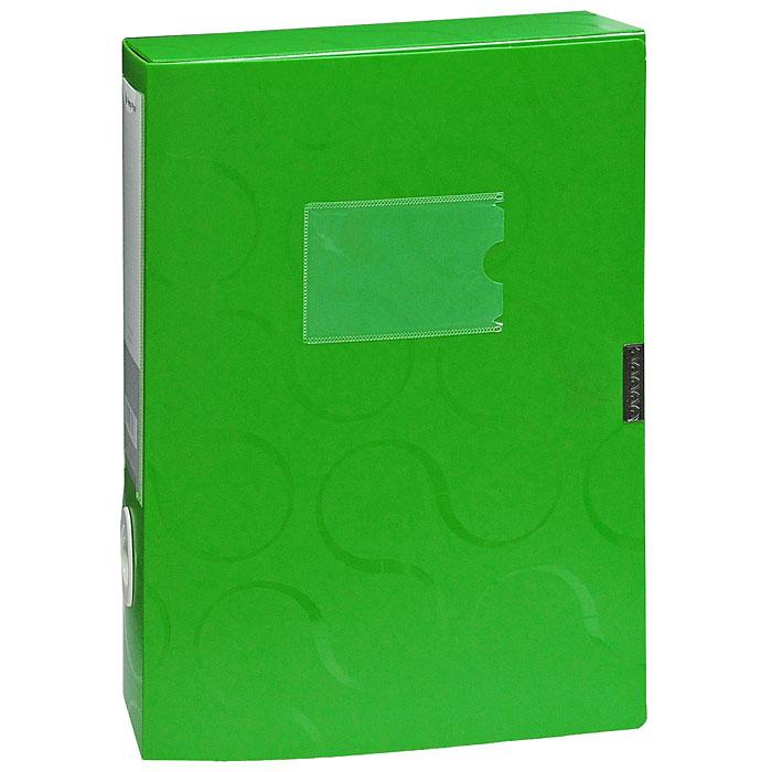 Короб для документов Omega, на липучке, цвет: зеленый10480Короб для документов Omega зеленого цвета применяется для хранения и транспортировки документов. Короб выполнен из плотного пластика и закрывается на липучку. Короб оснащен карманом для визитки, корешком со сменным вкладышем и кольцом для удобного извлечения с полочки. Короб обеспечит вам надежную защиту документов в течении длительного времени. Характеристики:Размер: 24 см х 6 см х 32 см. Цвет: зеленый. Формат: А4.