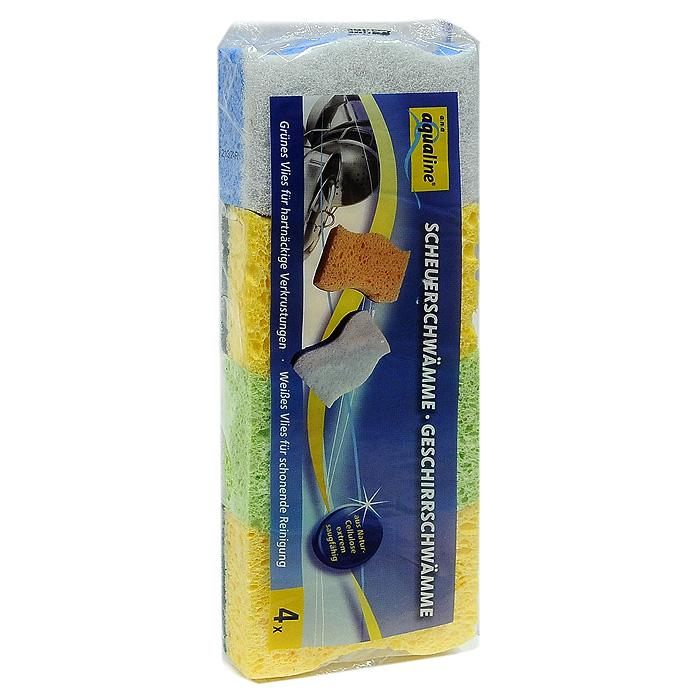 Набор губок Aqualine для мытья посуды, 4 шт348945Набор Aqualine состоит из четырех губок, предназначенных для мытья посуды. Они изготовлены из натуральной целлюлозы с высоким впитывающим эффектом. Они имеют два слоя для мытья посуды из различных материалов. Мягкая сторона подойдет для мытья деликатных поверхностей, а жесткая для удаления пригоревшей пищи.Характеристики:Материал губки: натуральная целлюлоза . Материал чистящей части губки:30% полиамид, 10% полиэстер, 60% связующие вещества. Размер губки:10 см х 2,5 см х 8 см. Комплектация:4 шт. Производитель:Германия. Артикул:1006.