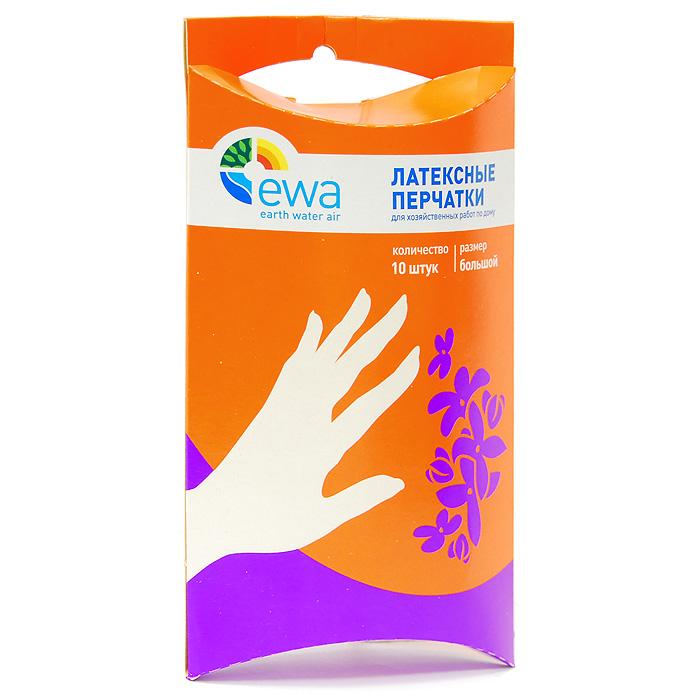 Перчатки латексные Ewa, размер: большой, 10 шт57133Сохранить надолго молодость и красоту ваших рук помогут удобные перчатки Ewa!Универсальные латексные перчатки обеспечат вас надежной защитой от агрессивных моющих средств, бытовой химии, грязи, воздействия воды при выполнении всех видов домашних работ. Текстурированные перчатки изготовлены из натурального латекса. Обладают хорошей эластичностью, что позволяет сохранить высокою чувствительность рук.
