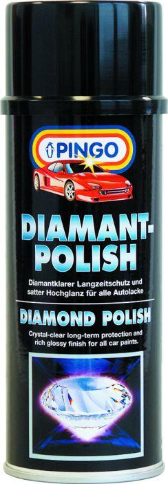 Алмазная полироль Pingo, аэрозоль, 400 мл00054-5Полироль Pingo предназначена для защитной обработки лакокрасочного покрытия кузова автомобиля и придания ему сочного блеска. Может использоваться для любых типов лаков и красок. Особенности полироли Pingo: Входящие в состав полироли силиконовые масла и полимерные микровоски обеспечивают долговременную защиту лакокрасочного покрытия от агрессивных воздействий окружающей среды (соль, ультрафиолетовое излучение, перепады температур и т.д.)Алмазная полироль превосходит все обычные восковые полироли по длительности консервирующего эффекта. Защитная пленка сохраняет свои свойства и эффективность в течение 6 месяцев и выдерживает до 30 моек.Препарат содержит порозаполнители, которые выравнивают структуру покрытия, заполняя микротрещины краски и мелкие царапины. После обработки лакокрасочное покрытие приобретает насыщенный цвет и сочный блеск.Обработанное лакокрасочное покрытие обладает повышенными водо- и грязеотталкивающими свойствами. Въевшиеся следы от почек деревьев и прилипшие насекомые без труда удаляются с предварительно обработанного Алмазной полиролью покрытия в процессе обычной мойки автомобиля с шампунем. Характеристики:Вес: 400 мл. Производитель: Россия.