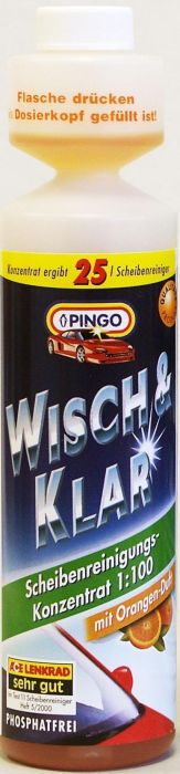 Добавка в бачок стеклоомывателя Pingo, с ароматом апельсина, 250 млВетерок 2ГФМоющий концентрат для стеклоочистителей Pingo (концентрат 1:100) быстро и эффективно очищает стекло от дорожной грязи, масляных пятен, следов насекомых и т.д. Не оставляет разводов, подтеков и мутной пленки, обеспечивая тем самым безопасность и комфорт вождения. Удаляет известковые отложения в системе стеклоомывания, препятствуя закупорке шлангов и распылительных форсунок. Состав содержит специальные компоненты, продлевающие срок службы резиновых накладок дворников. Флакон снабжен специальным дозатором, позволяющим легко отмерять нужное количество концентрата. С натуральным ароматом апельсина.Способ применения: Добавьте состав в бачок стеклоомывателя из расчета 25 мл концентрата на 2,5 литра воды. Характеристики:Объем:250 мл.Производитель: Германия.Артикул: 00788-9.