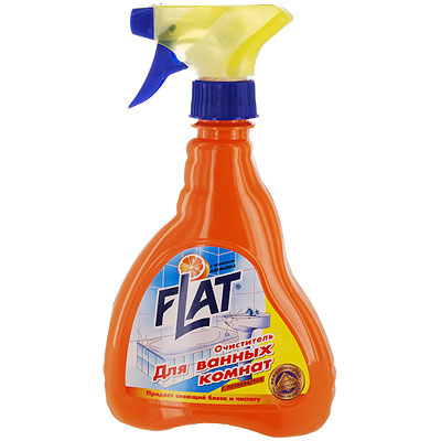 Очиститель для ванных комнат Flat, с ароматом апельсина, 480 г707100Очиститель ванной комнаты идеален для интенсивной чистки ванн, в том числе джакузи, кранов, кафеля, душевых кабин и занавесок, любых стеклянных, пластиковых и акриловых изделий, а также для чистки сиденья туалета. Создает невидимую пленку, препятствующую дальнейшему загрязнению. Не оставляет царапин, смывается легко и быстро. Формула блеска основательно и быстро удаляет остатки мыла, жировые, известковые и другие загрязнения. Характеристики:Вес: 480 г. Производитель: Россия.