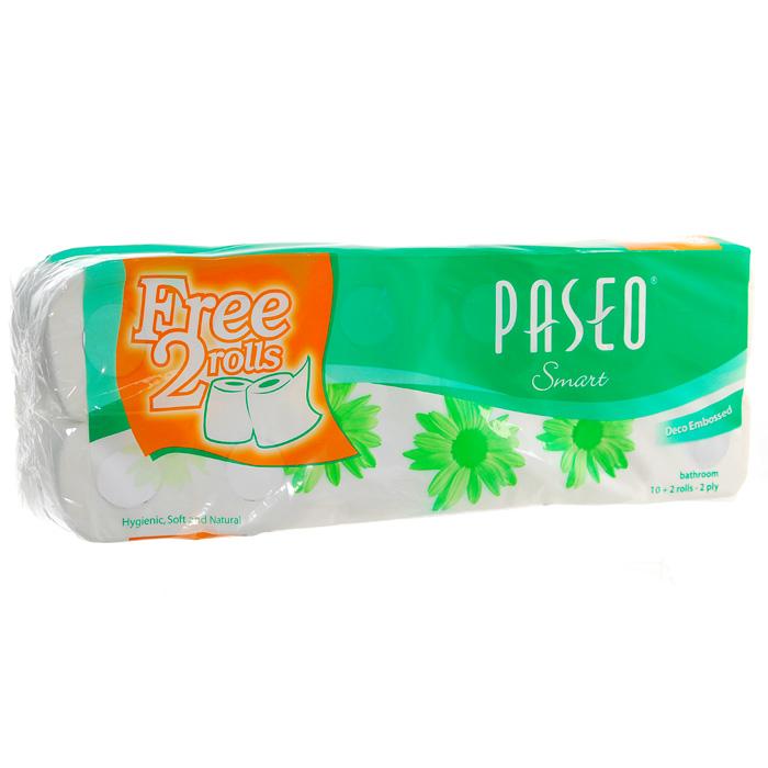 Туалетная бумага Paseo Smart, двухслойная, цвет: белый, 10 рулонов + 2 рулона в ПОДАРОК787502Двухслойная туалетная бумага Paseo Smart, выполненная из натуральной целлюлозы, обеспечивает превосходный комфорт и ощущение чистоты и свежести. Она отличается необыкновенной мягкостью и прочностью. Бумага хорошо перфорирована, не расслаивается и отрывается строго по просечке. Не содержит флуоресцентных добавок, красителей и парфюмерных отдушек. Характеристики: Материал:100% целлюлоза. Количество листов:200 шт. Количество слоев:2. Размер листа:9,9 см х 11,2 см. Количество рулонов:12 шт. Производитель:Индонезия. Артикул:211719.