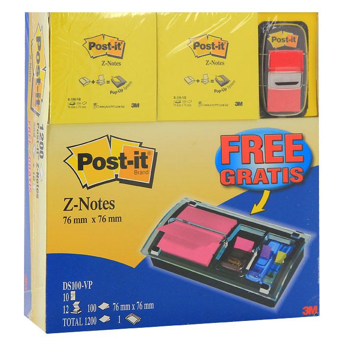 """Компактный настольный диспенсер """"Post-it"""" станет незаменимым атрибутом для работы в офисе или дома, а также украшением интерьера. Диспенсер оснащен двумя отделениями для закладок шириной и одним отделением для Z-блокнотов. Благодаря Z-сложению листочки из такого диспенсера легко извлекаются одной рукой и строго по одному. С помощью закладок вы сможете выделить или отметить нужную информацию, организовать цветное кодирование страниц или разделов. В комплект с диспенсером входят 10 закладок красного цвета и 6 разноцветных блоков Z-блокнотов по 100 листов в каждом."""