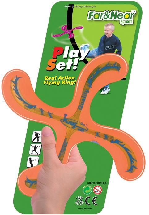 """Бумеранг """"Far&Near Sport"""" - отличная вещь для тренировки ловкости рук и быстроты реакции. Метание бумеранга - замечательный досуг на природе! Характеристики:  Материал: пластик.  Размер: 26 см х 26 см.  Артикул: FN-FL0714-X."""