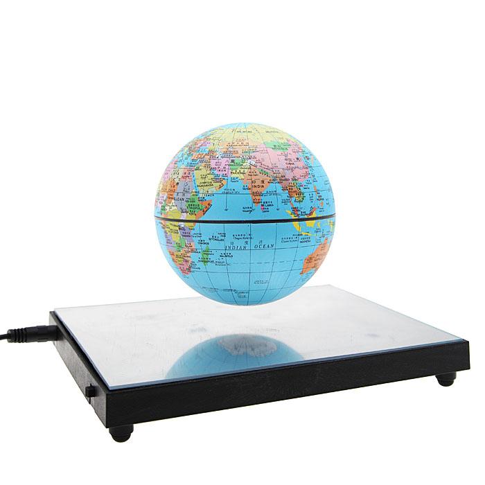 Настольный сувенир Планета с подсветкой, диаметр 10 смFS-80299Левитационный (парящий в воздухе) электромагнитный глобус. Эффект достигается при подключении устройства в сеть с помощью магнита, закрепленного на нижней панели. Тронув глобус, можно заставить его вращаться - против часовой стрелки, также как и Земля.Включается подсветка глобуса или основания.Вы получите абсолютно волшебное впечатление, приводящее в восторг от вашей покупки! Матриалы: пластик, металлические элементы.Диаметр планеты 10 см. Не является игрушкой. Не подходит для детей младше 12 лет. С инструкцией на русском языке.