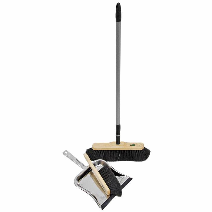Набор для сухой уборки Rival Natur Line, цвет: бежевый, черный, серый, 3 предмета531-105Красивый, эксклюзивный набор для домашней сухой уборки Rival Natur Line состоит из швабры, совка и щетки. С помощью швабры и щетки вы легко соберете мусор со всех видов полов, не образуя пыли. Они имеют длинную мягкую щетину, которая крепится к деревянной основе. Швабра снабжена удобной телескопической ручкой, что позволит использовать ее в труднодоступных местах. Совок выполнен из высококачественного металла. Благодаря резиновой прокладке он идеально прилегает к полу, не допуская разбрасывания мусора.Торговая марка Rival нацелена на объединение таких важных составляющих продукта, как многофункциональность, привлекательный дизайн и эргономические качества. И ей это удается благодаря созданию новых технологий производства, разработке современных продуктов, качественных и простых в использовании. Характеристики:Материал:натуральная щетина, дерево, металл. Размер рабочей части швабры:28 см х 7 см. Длина ворса швабры:6 см. Длина ручки швабры:73 см - 130 см. Длина щетки:29 см. Размер рабочей части щетки:14 см х 4,5 см. Длина ворса щетки:6 см. Размер рабочей части совка:23,5 см х 22 см. Длина ручки совка:15 см. Ширина щетки:3,5 см.Ширина совка:23,5 см.Производитель:Германия. Артикул:102640. Gerhard Haas KG - это быстро растущая компания, которая специализируется на производстве метел, щеток и различных товаров из пластика для домашнего хозяйства. В настоящее время она является одним из ведущих производителей в этом секторе Германии и Европы. Основная концепция производства - ориентация на конечного потребителя, поэтому компания старается создать широкий спектр высококачественной продукции для уборки дома, кухни, ванной комнаты и сада.