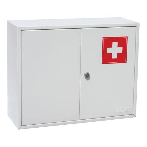 Шкаф для медикаментов Office-Force, двустворчатый, цвет: серый12723Двустворчатый шкаф-аптечка Office-Force является предметом первой необходимости, будь то дом, небольшой офис или промышленное предприятие. Стальной корпус покрашен методом напыления краски в серый цвет. Плотно закрывающиеся металлические дверцы с рисунком в виде медицинского креста ограждают содержимое шкафа от проникновения пыли и загрязнителей. Внутри ящика расположена металлическая перегородка, разделяющая шкаф на два отделения, в одном из которых предусмотрена металлическая полка. Аптечка крепится на стене при помощи дюбелей, входящих в комплект. Характеристики:Размер шкафа:45 см х 15 см х 36 см. Размер упаковки:36,5 см х 16 см х 46 см. Изготовитель:Китай.