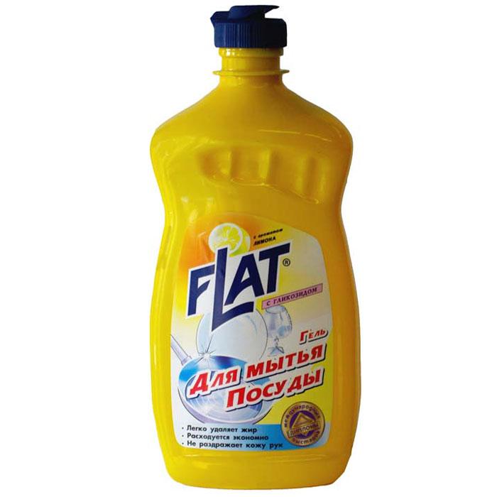 Гель для мытья посуды Flat, с гликозидом, с ароматом лимона, 500 г790009Гель для мытья посуды Flat прекрасно моет посуду в воде любой жесткости и температуры. Подходит для мытья посуды из фарфора, хрусталя, стекла, тефлона, пластика, металла и другого материала, а также может использоваться для мытья кухонной мебели, кафеля и стен. Гель растворяет жиры, смывает остатки пищи, не оставляет разводов и пятен на посуде. Благодаря эффективной формуле и густой консистенции средство обеспечивает минимальный расход. Содержит гликозид, который позволяет мыть посуду, не иссушая и не раздражая кожу рук. Характеристики:Вес: 500 г. Производитель: Россия. Товар сертифицирован.