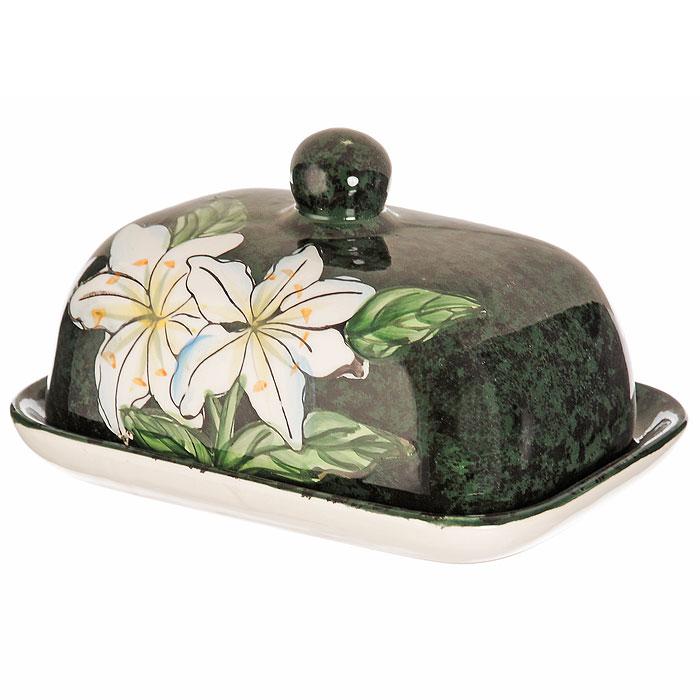 Масленка Малахит, 400 мл115510Масленка Малахит, изготовленная из высококачественной керамики и оформленная оригинальным рисунком в виде белых лилий, прекрасно подойдет для вашей кухни. Она предназначена для красивой сервировки и хранения масла.Масленка придется по вкусу и ценителям классики, и тем, кто предпочитает яркий современный дизайн. Она станет отличным подарком для друзей и близких. Характеристики:Материал: керамика. Размер масленки: 9 см х 17 см х 12 см. Размер упаковки: 11 см х 17,5 см х 12,5 см. Производитель: Китай. Артикул: YM 080012.