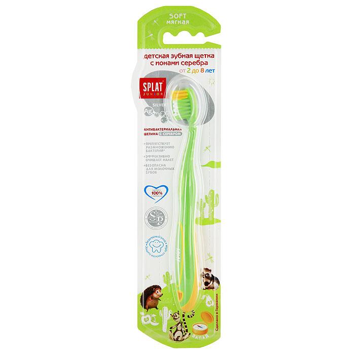 Зубная щетка для детей SPLAT (СПЛАТ) Kids/ КидсSatin Hair 7 BR730MNДетская зубная щетка Splat Junior с ионами серебра препятствует размножению бактерий, эффективно очищает налет. Безопасна для молочных зубов. Особая форма щетины делает чистку зубов максимально эффективной. Углубление в центре щетины повторяет форму зуба, а более длинные щетинки вокруг массируют десны. Удлиненные щетинки очищают даже самые труднодоступные места. Ионы серебра блокируют размножение бактерий в щетине. Характеристики:Материал: пластик, щетина. Длина щетки: 15,5 см. Рекомендуемый возраст: от 2 до 8 лет. Производитель: Россия. Товар сертифицирован.