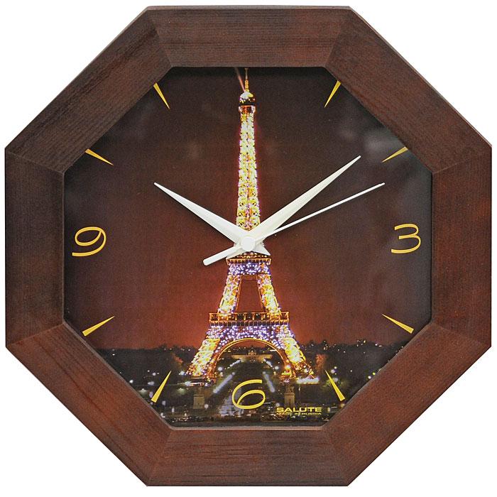 Часы настенные Эйфелева башня94672Настенные кварцевые часы Эйфелева башня в деревянной рамке с оригинальным рисунком, защищенным стеклом, подчеркнут индивидуальность вашего дома. Часы имеют три стрелки - часовую, минутную и секундную. Эта модель подойдет для гостиной, прихожей и комнаты и послужит идеальным подарком для друзей и близких. Характеристики: Материал: дерево, стекло, пластик. Диаметр часов: 33 см. Толщина часов: 4 см. Размер упаковки: 32 см х 32 см х 5 см. Производитель: Россия. Модель: ДС - ВВ29 - 341. Артикул: 490136. Рекомендуется докупить батарейку типа АА 1,5V (товар комплектуется демонстрационной).