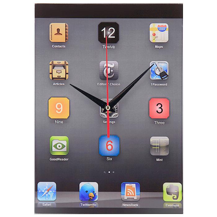 Часы настенные iClock300074_ежевикаНастенные кварцевые часы iClock своим необычным дизайном подчеркнут стильность и оригинальность интерьера вашего дома. Циферблат часов прямоугольной формы выполнен из стекла и оформлен в стиле рабочего стола iPhone. Часы имеют три стрелки - часовую, минутную и секундную. На задней стенке часов расположена металлическая петелька для подвешивания.Такие часы послужат отличным подарком для ценителя ярких и необычных вещей. Характеристики:Материал: стекло, металл. Размер часов:20 см х 27,5 см. Размер упаковки:22 см х 30,5 см х 4,5 см. Артикул:93514. Рекомендуется докупить батарейку типа АА (не входит в комплект).