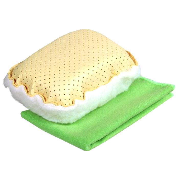 Набор для мытья и полировки автомобиля Pingo, цвет: желтый, салатовый, 2 предмета229146Набор для мытья и полировки автомобиля Pingo состоит из универсальной губки с мехом и салфетки из микрофибры. Универсальная губка с мехом предназначена для удаления влаги или конденсации с запотевших стекол. Меховая сторона губки может применяться для нанесения полироли на кузов автомобиля. Салфетка из микрофибры предназначена для полировки кузова автомобиля, для чистки лобового стекла, пластика и хрома. Может быть использована без химических средств, отлично впитывает воду, пыль и грязь. Сильно загрязненную салфетку промыть в теплой воде. При стирке не использовать отбеливатель и смягчающие средства, не гладить.Состав губки: 80% вискоза, 20% полипропилен, мех, полиэстер, пенополиуретан.Состав салфетки: 70% полиэстер, 30% полиамид.Размер губки: 13 х 9 х 5 см.Размер салфетки: 31 х 31 см.