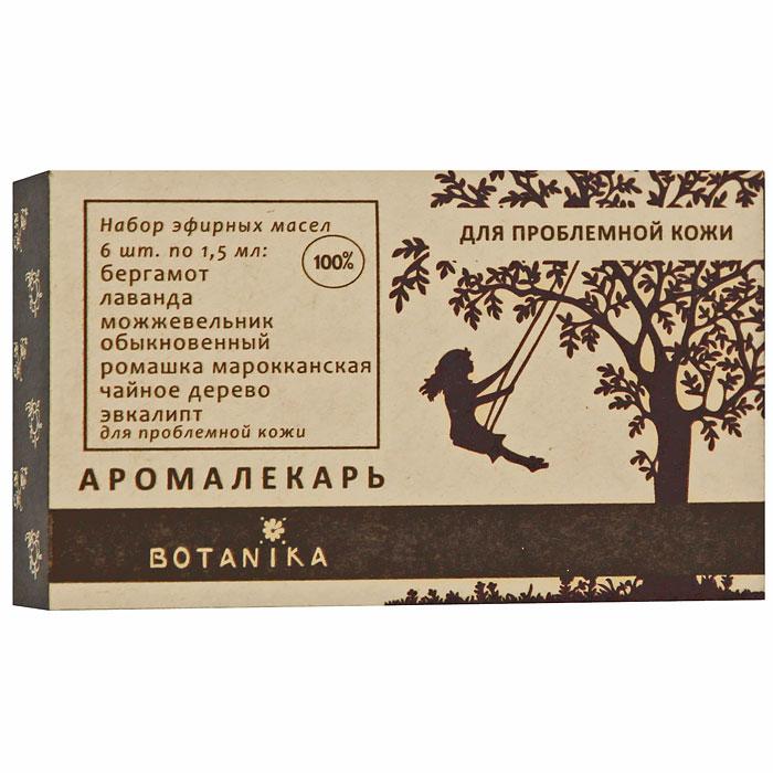 Набор эфирных масел Botanika, для проблемой кожи, 6x1,5 мл30011В набор Botanika для проблемной кожи входят 100% эфирные масла: чайное дерево, можжевельник обыкновенный, бергамот, лаванда, ромашка марокканская, эвкалипт.Проблемная кожа нуждается в постоянном и особенно тщательном уходе. Ее необходимо дезинфицировать, чтобы избежать высыпаний и воспалений, но при этом питать, увлажнять и стимулировать регенерацию тканей. Выбор косметических средств для проблемной кожи - задача не из легких. Эфирные масла помогут вам справиться с проблемами и сделать кожу гладкой и здоровой: с их помощью вы можете создать собственный рецепт красоты или усилить действие ваших любимый кремов, тоников и других средств ухода за кожей. Характеристики:Объем: 6 x 1,5 мл. Производитель: Россия. Товар сертифицирован.