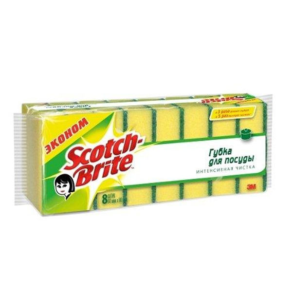 Губка для мытья посуды Scotch-Brite, 8 шт