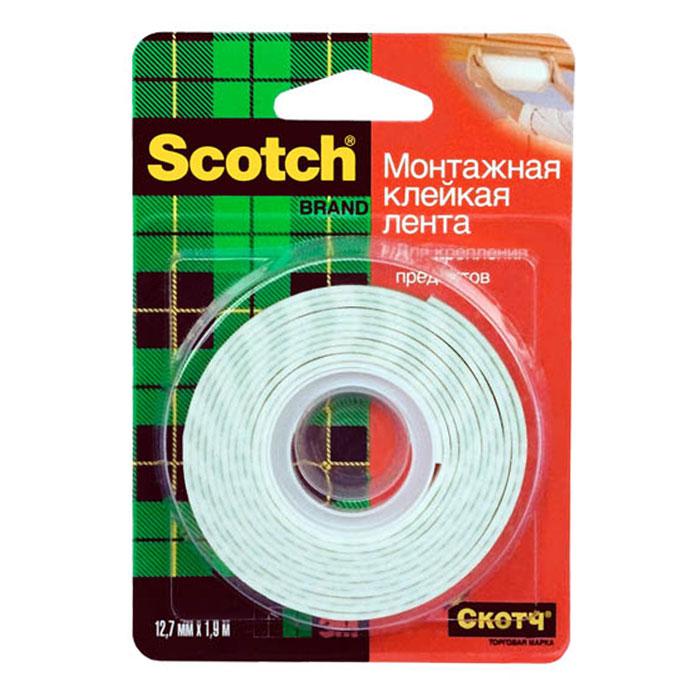 Монтажная клейкая лента Scotch, 1,9 мFS-00101Монтажная клейкая лента Scotch подходит для крепления предметов весом до 900 грамм, идеальна для декорирования помещений. Лента крепко держит благодаря пружинящей вспененной основе. Может использоваться на большинстве поверхностей. Характеристики: Материал: вспененный полимер. Длина ленты:1,9 м. Ширина ленты: 1,2 см. Максимальная нагрузка: 900 г. Производитель:США. Артикул:11930.