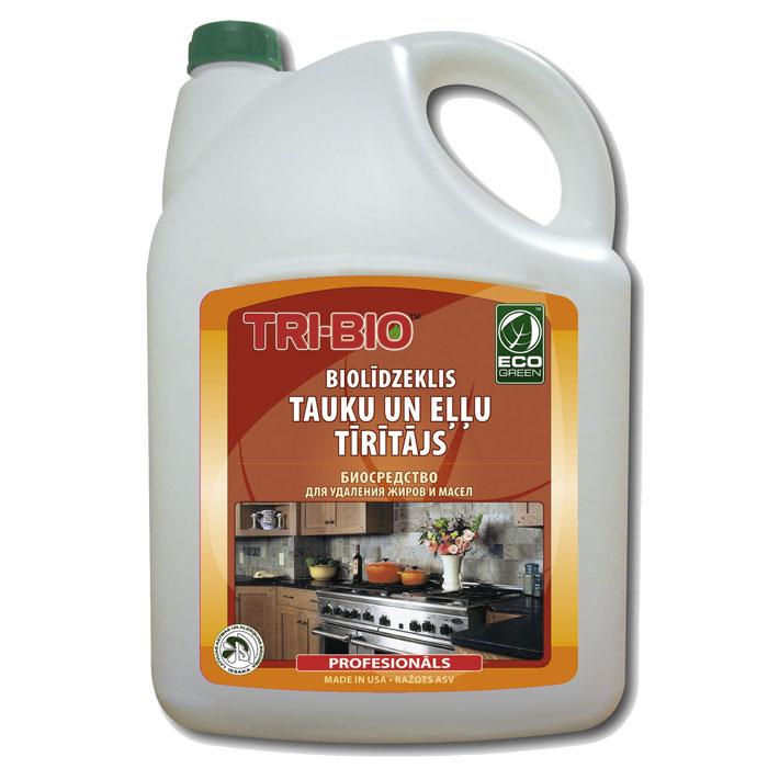 Биосредство для удаления жиров и масел Tri-Bio, 4,4 л787502Биосредство Tri-Bio предназначено для чистки кухонной плиты, духовки, вытяжки, микроволновой печи, кухонных поверхностей, пола и др. Эффективно даже при сильном застарелом загрязнении. Ликвидирует запахи, легко проникает в швы, позволяет обеспечить более длительный контроль запаха и более глубокую чистку.Особенности биосредства Tri-Bio для здоровья:Без фосфатов, без растворителей, без хлора отбеливающих веществ, без абразивных веществ, без отдушек, без красителей, без токсичных веществ, нейтральный pH, гипоаллергенно. Безопасная альтернатива химическим аналогам. Присвоен сертификат ECO GREEN. Рекомендуется для людей склонных к аллергическим реакциям и страдающих астмой.Особенности биосредства Tri-Bio для окружающей среды:Низкий уровень ЛОС, легко биоразлагаемо, минимальное влияние на водные организмы, рециклируемые упаковочные материалы, не испытывалось на животных. Особо рекомендуется использовать в домах с автономной канализацией.Способ применения:Хорошо взболтайте средство. Распылите непосредственно на поверхности или на влажную губку, оставьте на несколько минут, затем потрите щеткой или губкой, смойте водой. Для более сильных загрязнений оставьте средство на поверхности на 3-5 минут. Для мойки разбавьте 20 мл средства на ведро воды. Характеристики:Объем:4,4 л. Производитель:США. Артикул:0078.