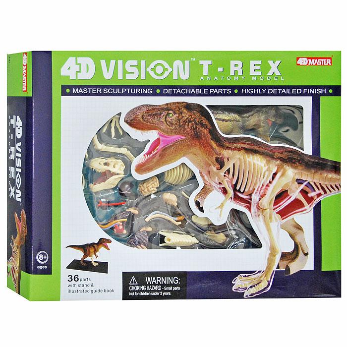 """Модель для сборки """"Тираннозавр"""" от Fame Master - это высоко детализированная фигурка древнего обитателя Земли, выполненная в виде 4D пазла. Название этого динозавра происходит от слова """"тиран"""". Он жил 68-65 миллионов лет назад и в этот период был самым крупным хищником, а среди всех древних плотоядных динозавров он занимает четвертое место по величине. Он мог достигать высоту 10 метров и весил около 7 тонн. Тиранозавр был прямоходящим, что позволяло ему преследовать жертву на большой скорости, а также взбираться на спины более крупных травоядных динозавров. Открытая пасть тиранозавра длиной была около метра! Он по праву считался одним из самых страшных животных, населявших нашу планету. Собрать фигурку древнего животного не так-то просто, на это у ребенка уйдет достаточно много времени, поэтому, сначала лучше попросить помощи взрослого. В комплект входят 23 детали, которые крепятся друг к другу специальными штырьками. 4D пазлы вырабатывают у детишек усидчивость, терпение,..."""
