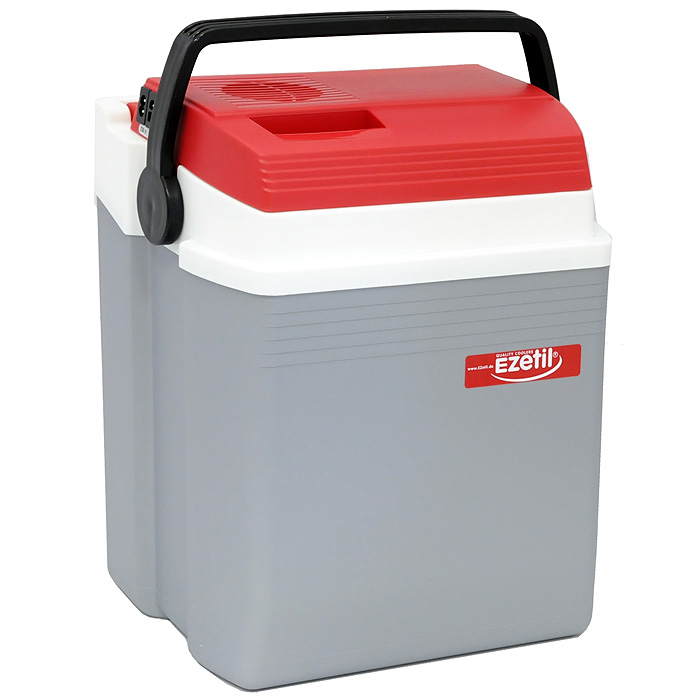 Автомобильный холодильник Ezetil E, цвет: серый, красный, 21 л98291124Малогабаритный электрический холодильник Ezetil E предназначен для хранения и транспортировки предварительно охлажденных продуктов и напитков. Контейнер удобно использовать в салоне автомобиля в качестве портативного холодильника. Он легко поместится в любой машине! Особенности автомобильного холодильника Ezetil E:- Выполнен из прочного пластика высокого качества;- Работает от бортовой сети автомобиля 12В или от сети переменного тока 220В;- Внутри контейнера имеется вместительный отсек для хранения продуктов и напитков;- Подходит для хранения 1,5-литровых бутылок в вертикальном положении;- Крышка холодильника открывается одной рукой;- Встроенный вентилятор, изоляция из пеноматериала и отсек для хранения шнура питания от сети и штекера прикуривателя (12В) вмонтирован в крышку;- Дополнительный внутренний вентилятор в холодильной камере обеспечивает быстрое и равномерное охлаждение;- Мощная, не нуждающаяся в техобслуживании охлаждающая система Peltier гарантирует оптимальную производительность по холоду;- Работает под любым углом наклона;- Действенная изоляция с наполнителем из пеноматериала поддерживает в холодном состоянии пищу и напитки в течение длительного времени, в том числе и без подачи электроэнергии;- Специальная уплотнительная резинка в крышке уменьшает образование конденсата в холодильной камере;- Для удобной переноски автомобильный холодильник снабжен надежной пластиковой ручкой.Такой компактный и вместительный холодильник послужит отличным аксессуаром для вашего автомобиля!Материал: пластик, металл, пеноматериал.Напряжение: 12B, 220В.