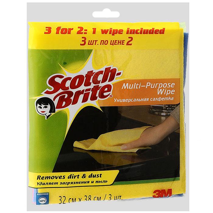 Салфетка Scotch-Brite, универсальная, 2 шт + 1 салфетка в ПОДАРОКPANTERA SPX-2RSУниверсальная салфетка Scotch-Brite идеально подходит для сухой и влажной уборки любых поверхностей. Преимущества:удаляет загрязнения м пыль,легко отжимается, быстро сохнет и не впитывает неприятные запахи,мягкий и долговечный материал,может применяться с бытовыми моющими средствами,многократная машинная стирка при температуре 60°C.Характеристики: Материал: 85% вискоза, 15% полипропилен. Размер: 32 см х 38 см. Количество в упаковке:3 шт. Изготовитель:Польша. Артикул: 11018.