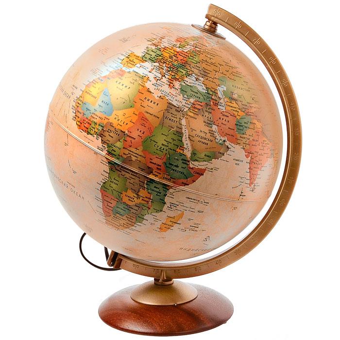 """Глобус """"Colombo"""" в античном стиле с политической картой мира выполнен в высоком качестве, с четким и ярким изображением. Он даст представление о политическом устройстве мира. На нем отображены линии картографической сетки, показаны границы государств и демаркационные линии, столицы и крупные населенные пункты, линия перемены дат. Легко вращается вокруг своей оси, снабжен стилизованным под металл меридианом с градусными отметками. Подставка изготовлена из дерева. Глобус имеет функцию подсветки от электрической сети, при включении которой становятся видны маршруты путешествий Магеллана, Кука, Васко де Гаммы и др. Надписи на глобусе сделаны на русском языке."""