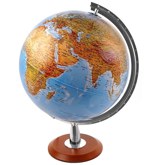 """Глобус """"Atlantis"""" с физической и политической картами мира выполнен в высоком качестве, с четким и ярким изображением. Он дает представление о строении поверхности Земли и о политическом устройстве мира. На нем отображены линии картографической сетки, рельеф суши и морского дна, теплые и холодные течения, показаны границы государств и демаркационные линии, столицы и крупные населенные пункты, линия перемены дат. Легко вращается вокруг своей оси, снабжен стилизованным под металл меридианом с лупой. Подставка изготовлена из дерева. Глобус имеет функцию подсветки от электрической сети, при включении которой становится видна политическая карта мира."""