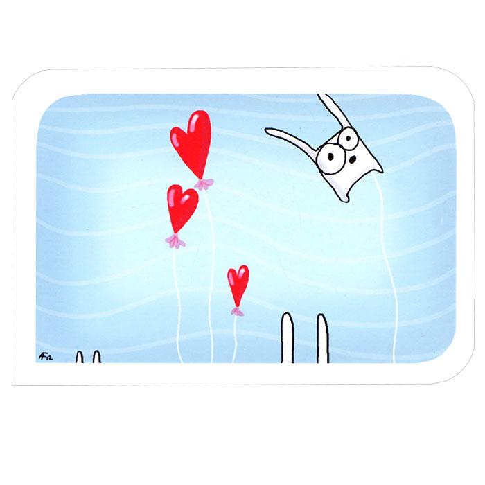 Открытка Люблю. Ручная авторская работа. IL01531540Авторская открытка станет необычным и ярким дополнением к подарку дорогому и близкому вам человеку или просто добавит красок в серые будни. Открытка оформлена изображением забавного зайца и воздушных шариков в виде сердечек. Обратная сторона открытки не содержит текста, что позволит вам самостоятельно написать самые теплые и искренние пожелания.К открытке прилагается бумажный конверт. Характеристики: Размер:15 см х 10 см. Материал: бумага. Артикул: Il-15.