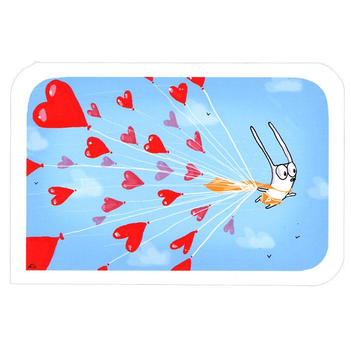Открытка Люблю. Ручная авторская работа. SP003U0388-173-CPIOАвторская открытка станет необычным и ярким дополнением к подарку дорогому и близкому вам человеку или просто добавит красок в серые будни. Открытка оформлена изображением забавного зайца, летящего на воздушных шарах в виде сердечек. Обратная сторона открытки не содержит текста, что позволит вам самостоятельно написать самые теплые и искренние пожелания.К открытке прилагается бумажный конверт. Характеристики: Размер:15 см х 10 см. Материал: бумага. Артикул: Sp-3.