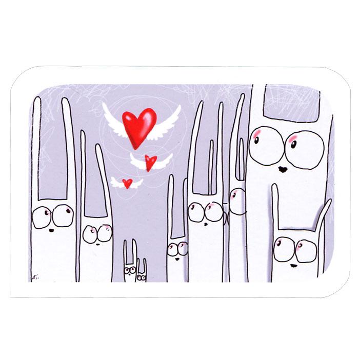 Открытка Любовь. Ручная авторская работа. IL02891986Авторская открытка станет необычным и ярким дополнением к подарку дорогому и близкому вам человеку или просто добавит красок в серые будни. Открытка оформлена изображением забавных зайцев, смотрящих на летящие сердечки. Обратная сторона открытки не содержит текста, что позволит вам самостоятельно написать самые теплые и искренние пожелания.К открытке прилагается бумажный конверт. Характеристики: Размер:15 см х 10 см. Материал: бумага. Артикул: Il-28.