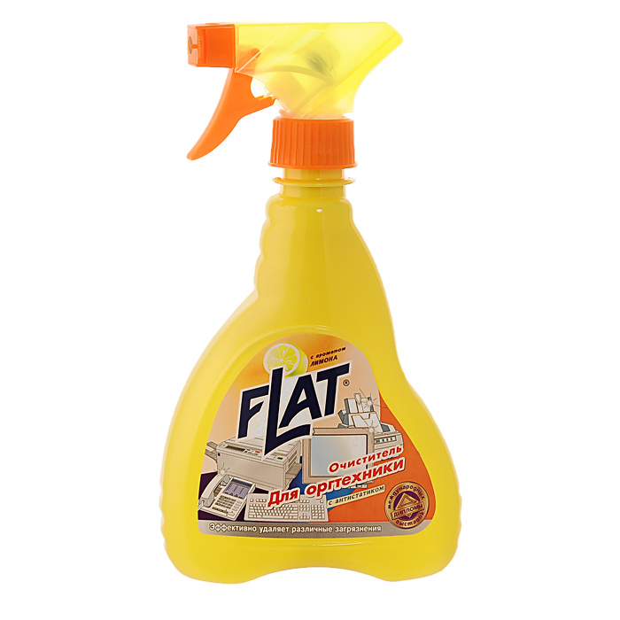 Очиститель для оргтехники Flat, с ароматом лимона, 480 г24153Очиститель для оргтехники Flat идеально удаляет жировые загрязнения, следы тонера и маркера. Благодаря антистатику снимает электростатический заряд, препятствуя быстрому оседанию пыли. Восстанавливает первоначальный цвет пожелтевшего пластика. Не повреждает поверхность. Не оставляет разводов. Эргономичный флакон оснащен высоконадежным курковым распылителем, дающим возможность пенообразования при распылении, позволяющим легко и экономично наносить раствор на загрязненную поверхность. Характеристики: Вес: 480 г. Производитель: Россия.