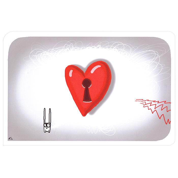 Открытка Люблю. Ручная авторская работа. IL00492002Авторская открытка станет необычным и ярким дополнением к подарку дорогому и близкому вам человеку или просто добавит красок в серые будни. Открытка оформлена изображением забавного зайца и сердечка с замочной скважиной. Обратная сторона открытки не содержит текста, что позволит вам самостоятельно написать самые теплые и искренние пожелания.К открытке прилагается бумажный конверт. Характеристики: Размер:15 см х 10 см. Материал: бумага. Артикул: Il-4.