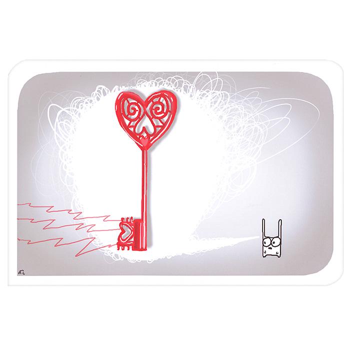 Открытка Люблю. Ручная авторская работа. IL00540618Авторская открытка станет необычным и ярким дополнением к подарку дорогому и близкому вам человеку или просто добавит красок в серые будни. Открытка оформлена изображением забавного зайца и ключика. Обратная сторона открытки не содержит текста, что позволит вам самостоятельно написать самые теплые и искренние пожелания.К открытке прилагается бумажный конверт. Характеристики: Размер:15 см х 10 см. Материал: бумага. Артикул: Il-5.