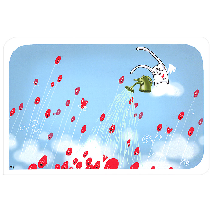 Открытка Веселый дождик. Ручная авторская работа. OT012ot-12Авторская открытка станет необычным и ярким дополнением к подарку дорогому и близкому вам человеку или просто добавит красок в серые будни. Открытка оформлена изображением забавного зайца, поливающего цветы из небольшой лейки. Обратная сторона открытки не содержит текста, что позволит вам самостоятельно написать самые теплые и искренние пожелания. Характеристики: Размер:15 см х 10 см. Материал: бумага. Артикул: Ot-12.