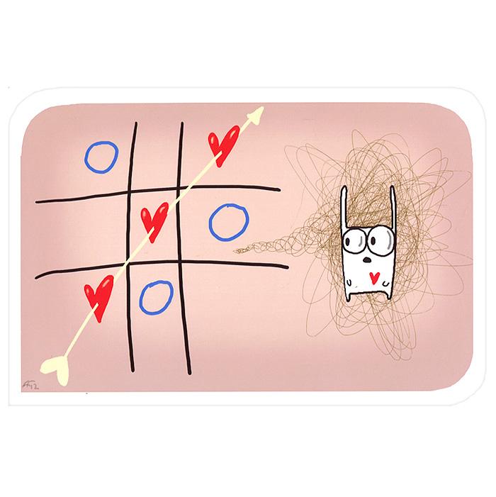 Открытка Крестики-нолики. Ручная авторская работа. IL016Брелок для ключейАвторская открытка станет необычным и ярким дополнением к подарку дорогому и близкому вам человеку или просто добавит красок в серые будни. Открытка оформлена изображением забавного зайца с полем для игры в крестики-нолики. Обратная сторона открытки не содержит текста, что позволит вам самостоятельно написать самые теплые и искренние пожелания. Характеристики: Автор: Vsegdaestpovod. Размер:15 см х 10 см. Материал: бумага. Артикул: Il-16.